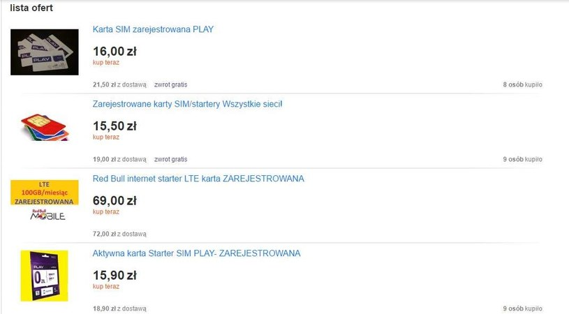 Oferty do znalezienia w serwisie Allegro /Mobileclick.pl.