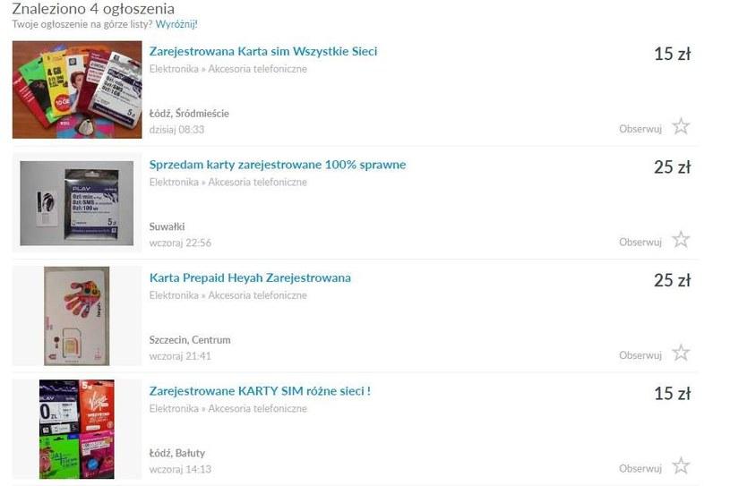 Oferty kart pre paid SIM do znalezienia w serwisie OLX /Mobileclick.pl.