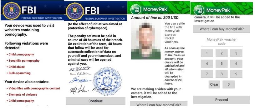 Ofiara wirusa jest wprowadzana w błąd, że urządzenie zostało zablokowane przez FBI po rzekomym wykryciu nielegalnej działalności. /materiały prasowe
