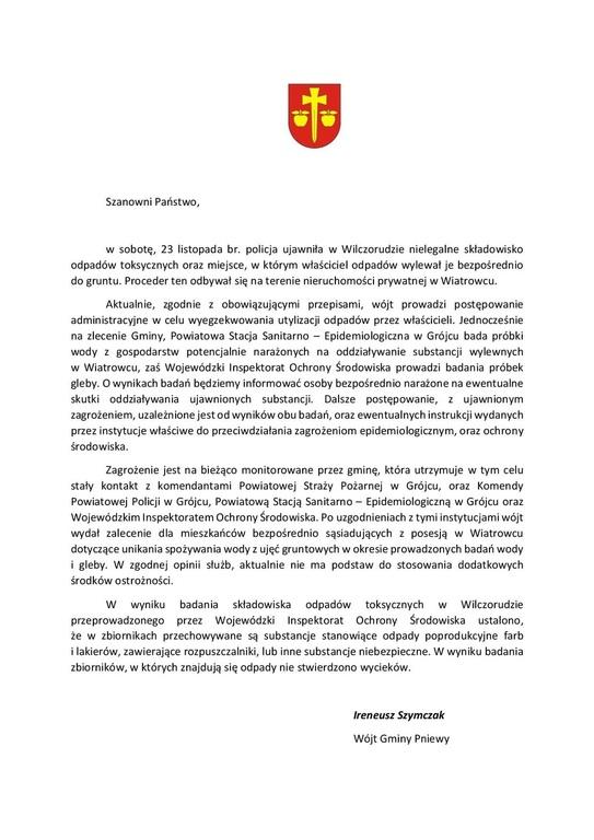 Oficjalna informacja Urzędu Gminy Pniewy dot. odnalezionych odpadów /materiały prasowe /