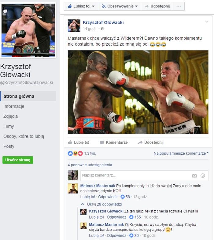 Oficjalne konto Krzysztofa Głowackiego /Print Screen/Facebook /