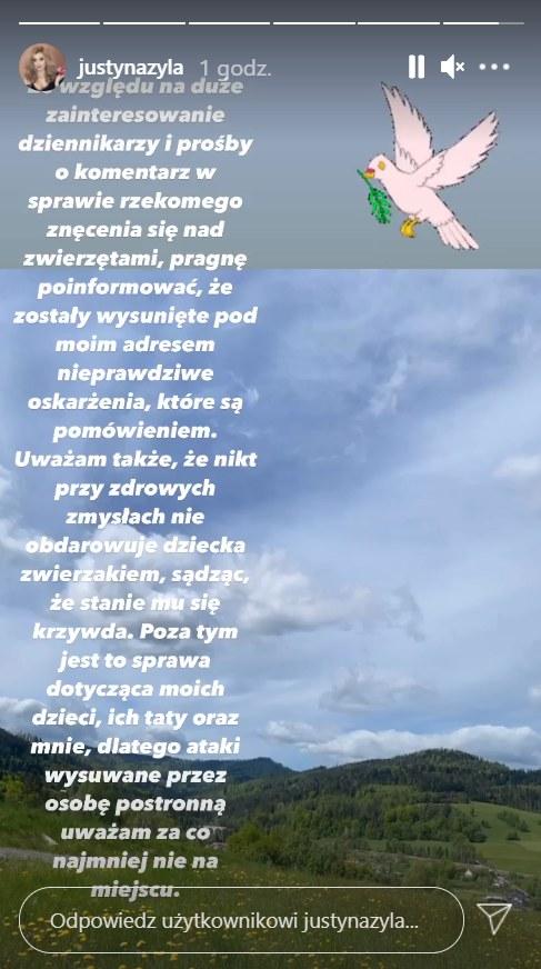 Oficjalny komunikat Justyny Żyły w sprawie oskarżeń Marceliny Ziętek, https://www.instagram.com/justynazyla/ /Instagram