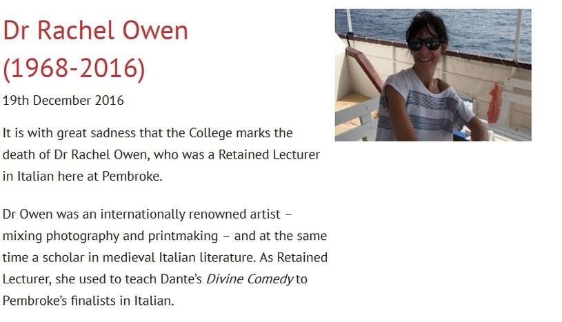 Oficjalny komunikat na stronie Pembroke College na temat śmierci Rachel Owen /