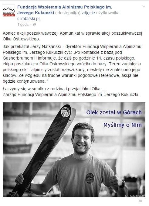 Oficjalny komunikat /facebook.com