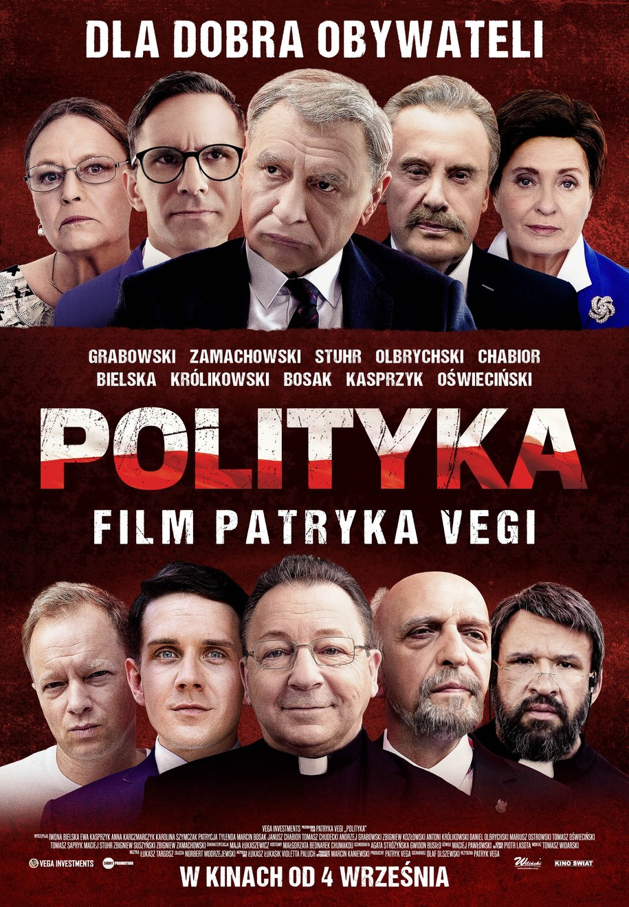 """Oficjalny plakat promujący """"Politykę"""" Patryka Vegi /Kino Świat /Materiały prasowe"""