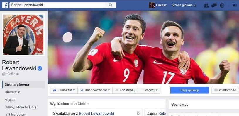 Oficjalny profil Roberta Lewandowskiego na Facebooku. Przy jego nazwie widać niebieski znacznik - to oznacza, że jest on zweryfikowany /Internet