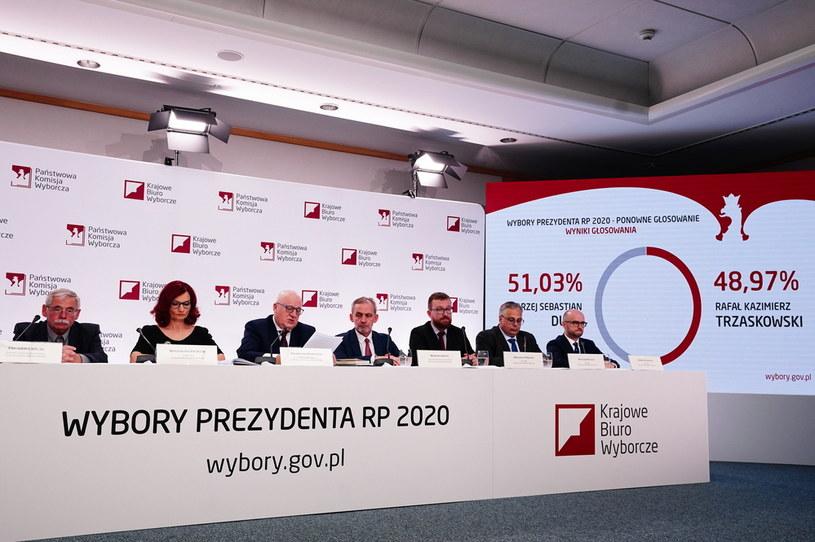 Ogłaszanie wyników drugiej tury wyborów prezydenckich 2020; Konferencja PKW /Mateusz Marek /PAP