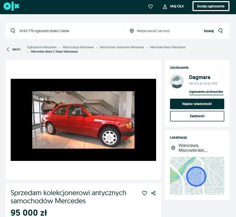 Ogłoszenie o sprzedaży, źródło: Olx.pl /