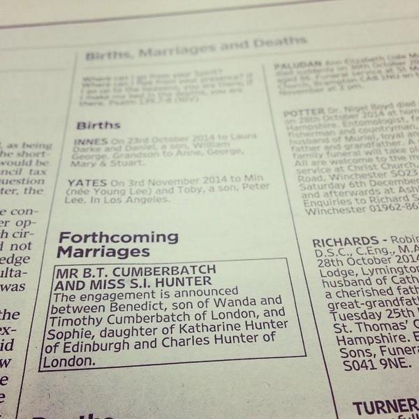 Ogłoszenie o zaręczynach Benedicta Cumberbatcha /Twitter /internet
