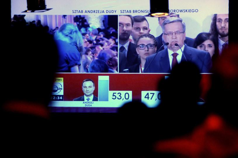 Ogłoszenie wstępnych wyników wyborów prezydenckich (24.05.2015) /Wojciech Strozyk/REPORTER /Reporter