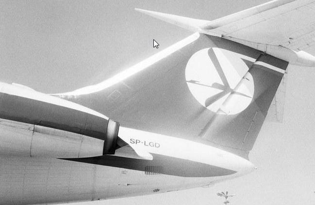 Ogon samolotu pasażerskiego Tu-134 /Z archiwum Narodowego Archiwum Cyfrowego