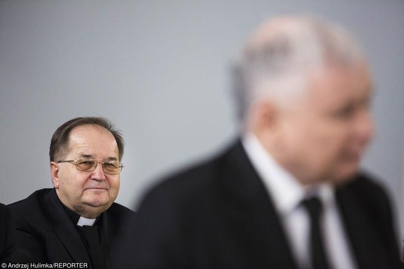 Ojciec Tadeusz Rydzyk i Jarosław Kaczyński na zdjęciu archiwalnym z marca 2015 r. /Andrzej Hulimka  /Reporter
