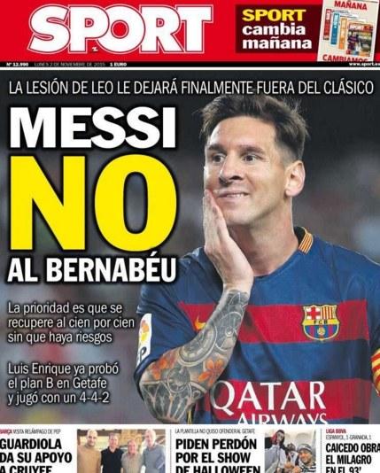 """Okładka dziennika """"Sport"""" /AFP"""