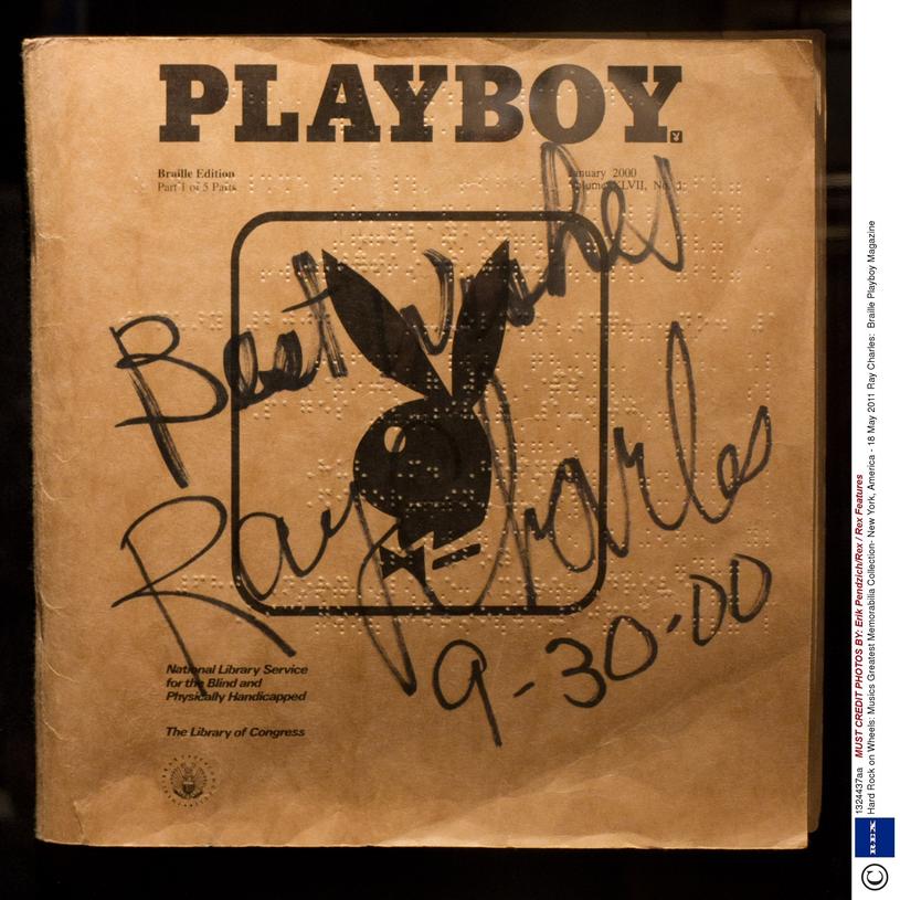 Okładka edycji Playboya dla niewidomych/ Photo by Erik Pendzich/Rex / Rex Features ( 1324437aa ) Ray Charles: Braille Playboy Magazine Hard Rock on Wheels: Musics Greatest Memorabilia Collection- New York, America - 18 May 2011 /East News