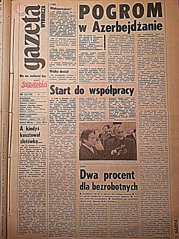 """Okładka """"Gazety Wyborczej"""" z 15 stycznia 1990 roku /arch. RMF"""