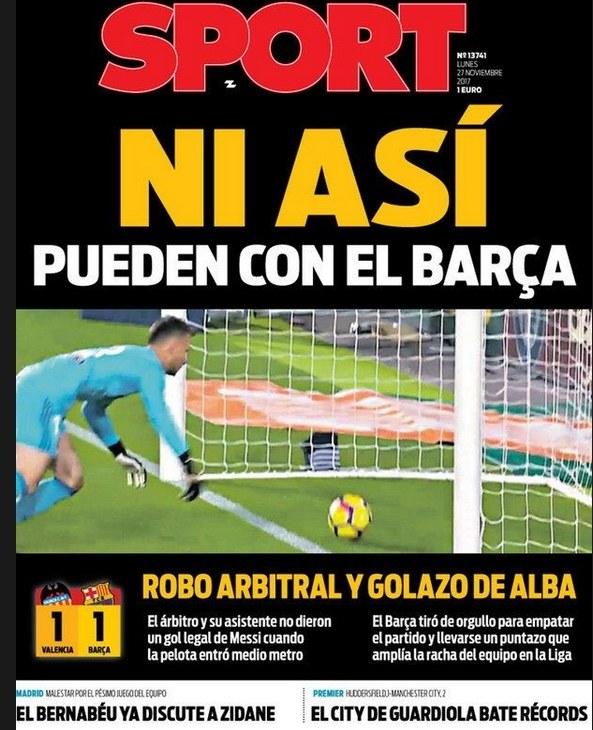 """Okładka katalońskiego """"Sportu"""", gdzie na zdjęciu dokładnie widać, że padł gol /Internet"""