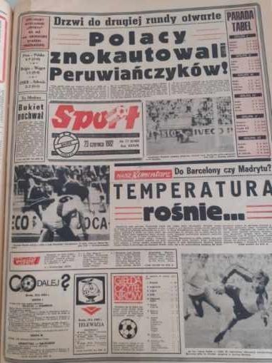 """Okładka katowickiego """"Sportu"""" z 23 czerwca 1982 roku /"""