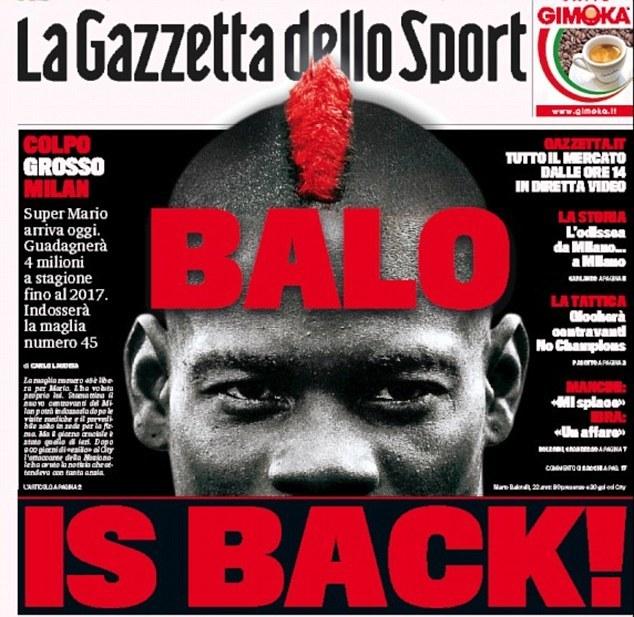 """Okładka """"La Gazzetta dello Sport"""" z Mario Balotellim w roli głównej /INTERIA.PL"""