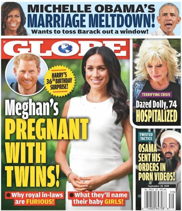 """Okładka magazynu """"Globe"""", która ogłasza ciążę Meghan Markle /okładka """"Globe"""" /materiał zewnętrzny"""