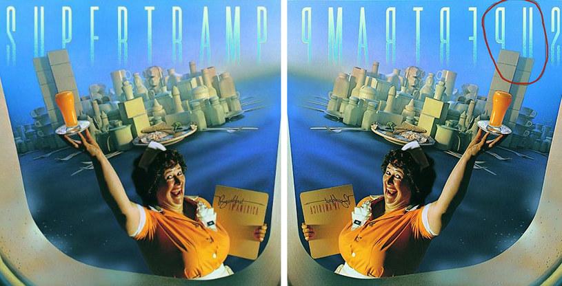 """Okładka płyty """"Breakfast In America"""" i jej odwrócona wersja z zaznaczonymi literami """"u"""" i """"p"""" /"""