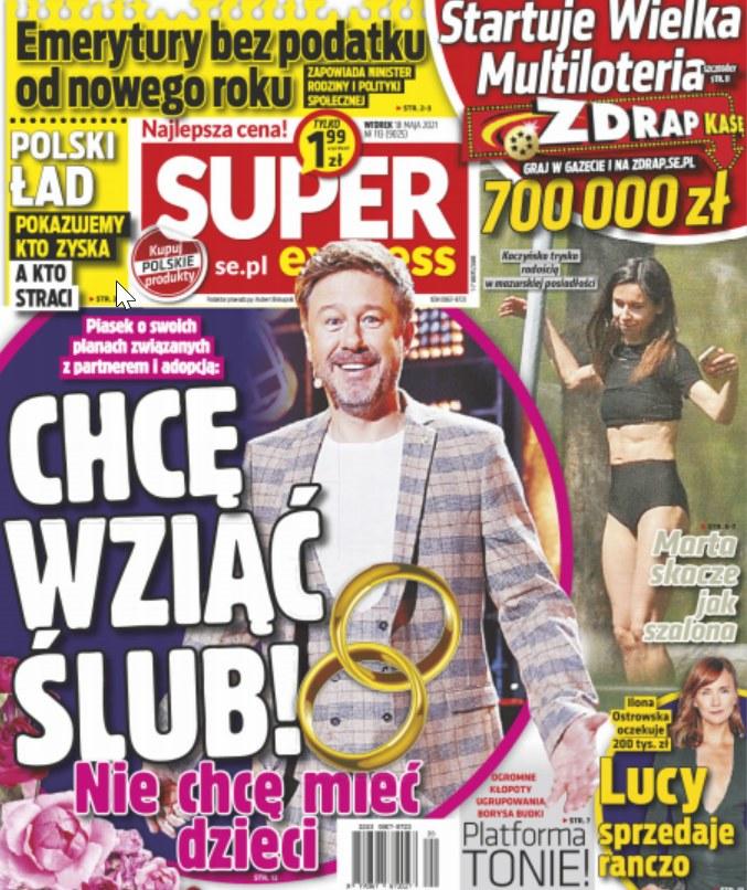 """Okładka """"Super Expressu"""" z dnia 18 maja /Super Express /materiał zewnętrzny"""