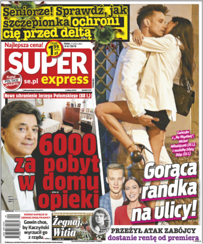 "Okładka ""Super Expressu"" z dnia 21.07.2021 /Super Express /materiały prasowe"