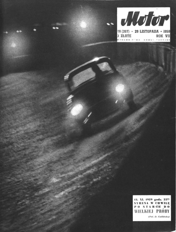 """Okładka tygodnika """"Motor"""" z 29 listopada 1959 roku, w którym zamieszczono obszerną relację z przebiegu rekordowej jazdy Syreny /Archiwum Tomasza Szczerbickiego"""