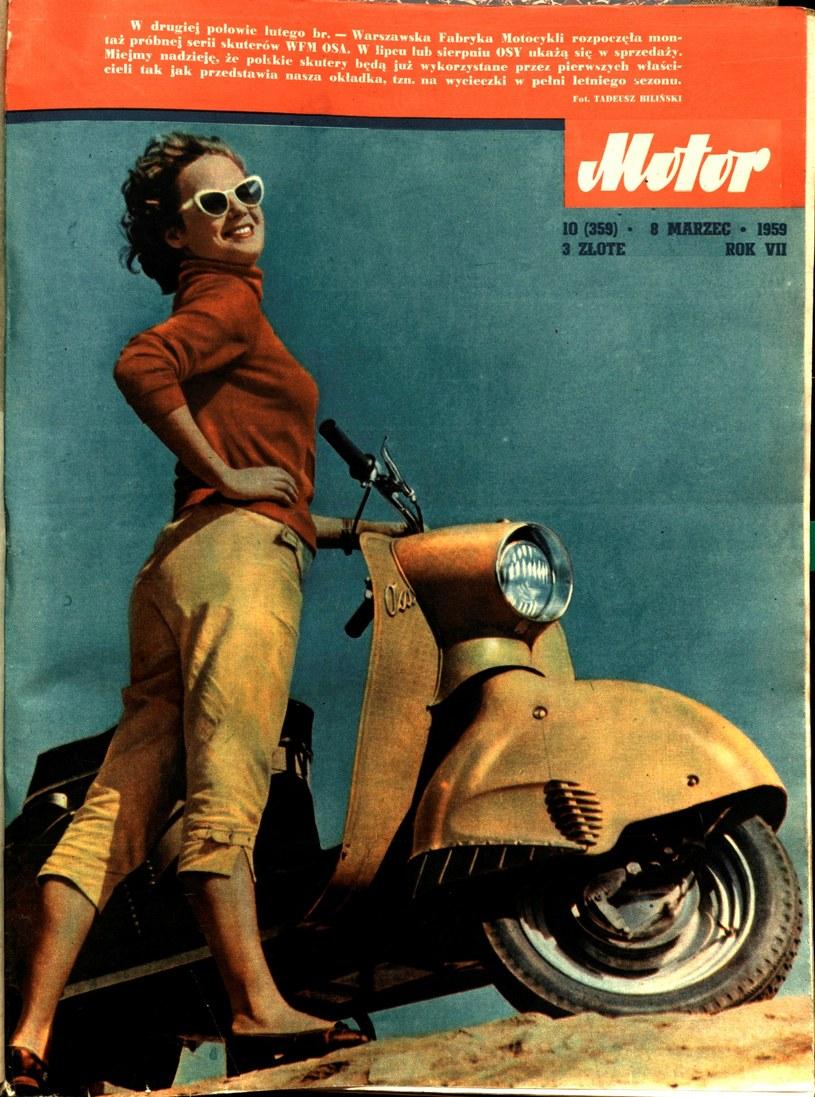 """Okładka tygodnika """"Motor"""" z marca 1959 roku. Tekst u góry strony informuje o rozpoczęciu produkcji krajowych skuterów OSA /Archiwum Tomasza Szczerbickiego"""