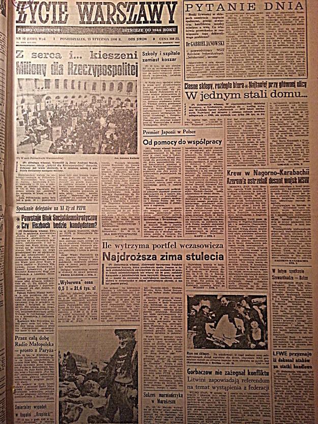 """Okładka """"Życia Warszawy"""" z 15 stycznia 1990 roku /arch. RMF"""