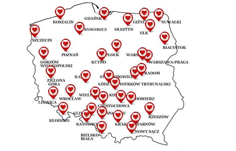 """""""Okna życia"""" na mapie przygotowanej przez Caritas /Caritas.pl /"""