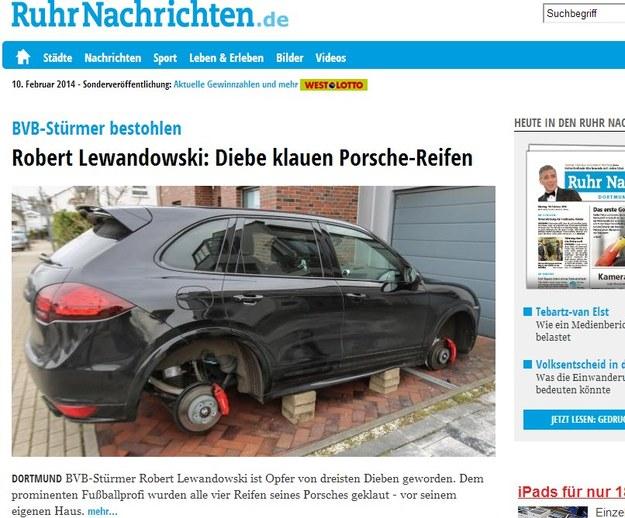 Okradziony samochód Lewandowskiego to wydarzenie dnia w Ruhr Nachrichten. /INTERIA.PL