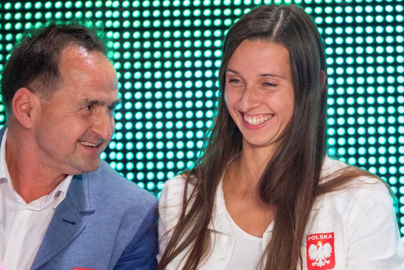 Oktawia Nowacka i trener Stanisław Pytel /Andrzej Iwańczuk /Reporter