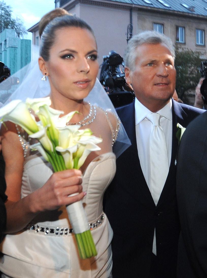 Ola Kwaśniewska z ojcem /Witold Rozbicki/REPORTER /Reporter