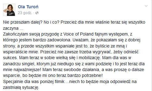 Ola Turoń o odpadnięciu z programu /