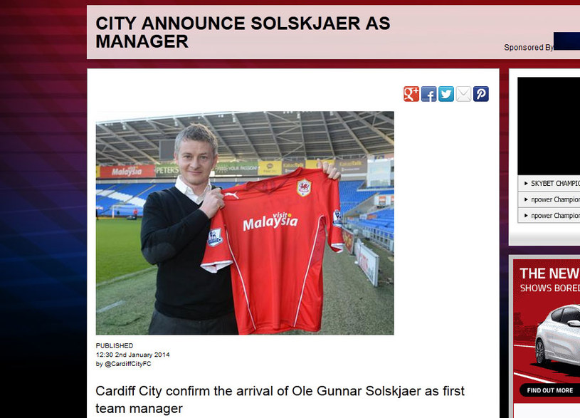 Ole Gunnar Solskjaer poprowadzi Cardiff City / http://www.cardiffcityfc.co.uk /INTERIA.PL