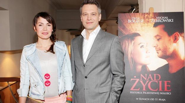 Olga Bołądź i Michał Żebrowski na spotkaniu z dziennikarzami /AKPA