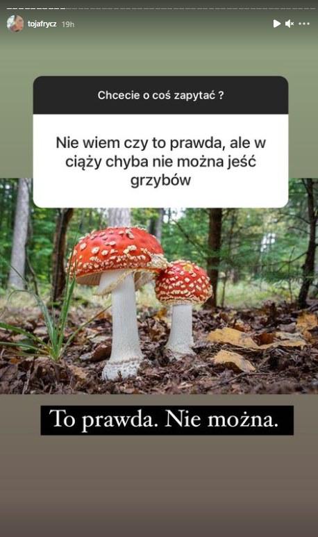 Olga Frycz o grzybach na Instagramie / @tojafrycz /Instagram