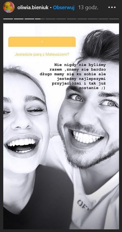 Oliwia Bieniuk wyjawiła, co ją łączy z pasierbem Natalii Siwiec, Mateuszem /instastory/oliwia.bieniuk /
