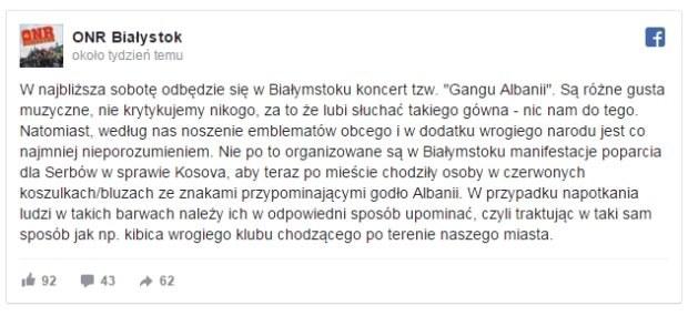 ONR Białystok jest przeciw działalności Gangu Albanii /