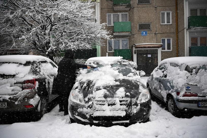 Opady śniegu na Podkarpaciu, na zdjęciu Przemyśl /Darek Delmanowicz /PAP