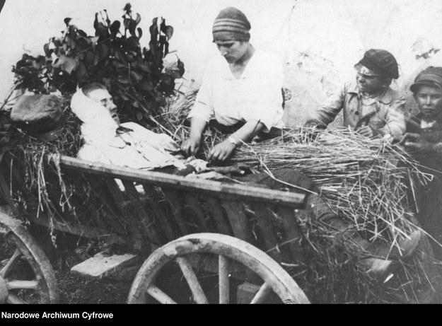 Opatrywanie rannego w bitwie pod Radzyminem, sierpień 1920 /Z archiwum Narodowego Archiwum Cyfrowego