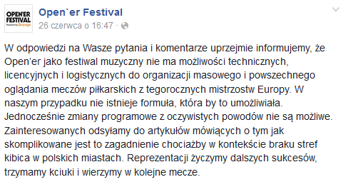 Open'er Festival o meczu 26 czerwca /Oficjalna strona festiwalu