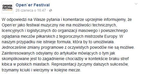 Open'er Festival potwierdza tranmisję meczu /Oficjalna strona festiwalu