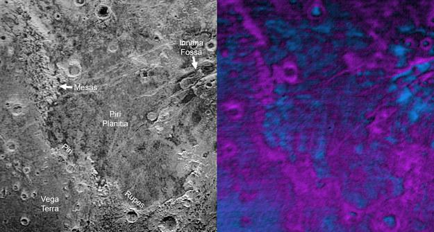 """Opisany fragment """"nadgryzionej"""" powierzchni Plutona /NASA/JHUAPL/SWRI /materiały prasowe"""