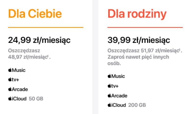 Opisywana przez Apple oszczędność dotyczy sytuacji, w której za każdą z usług płacilibyśmy osobno /materiały prasowe