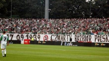 Opisywany transparent wywieszony przez fanów Lechii /fot. Joanna Żmijewska /INTERIA.PL