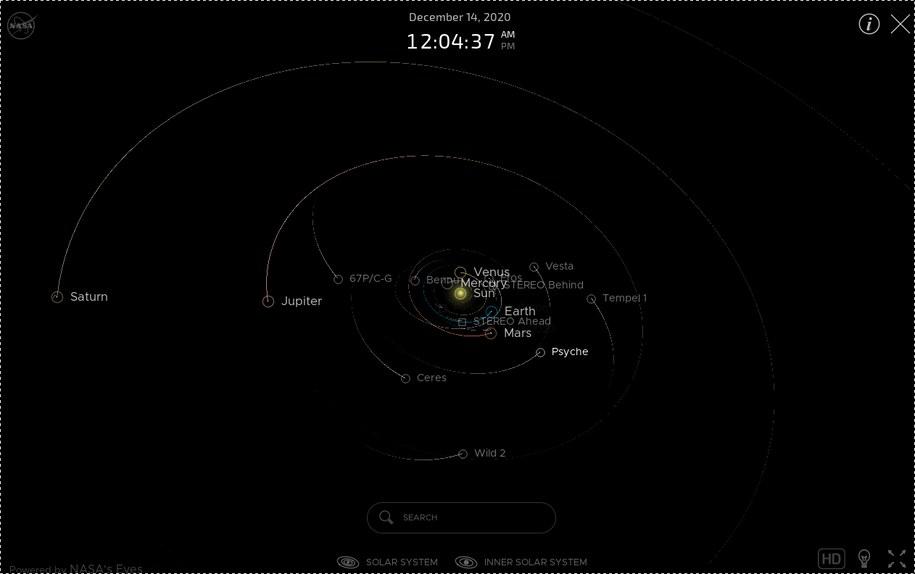 """Orbity planet Układu Słonecznego w czasie rzeczywistym  np. Jowisz """"powoli dogania"""" Saturna – obraz z 13 XII 2020 r /https://solarsystem.nasa.gov/planets/overview/ /"""