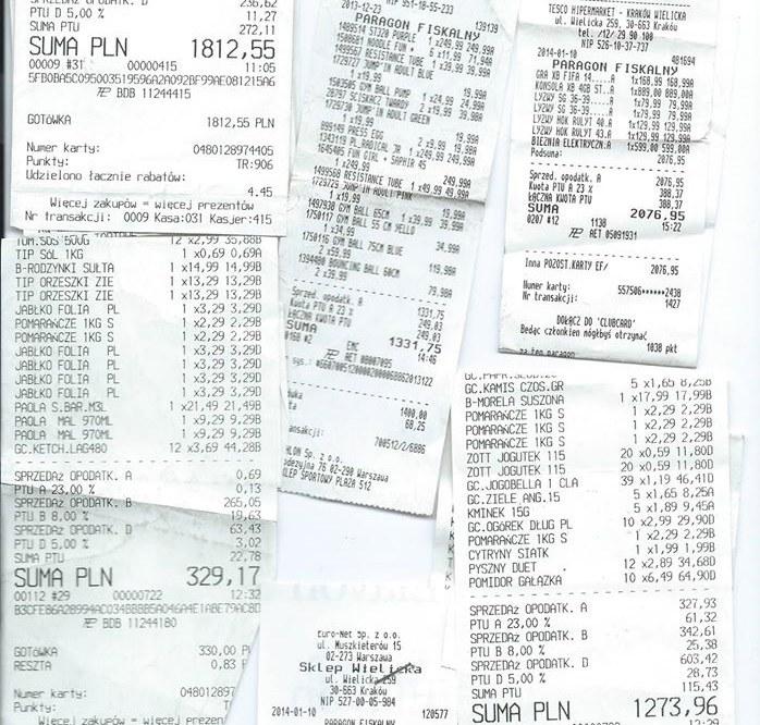 Organizator zbiórki wszystkie wydatki ma udokumentowane paragonami /