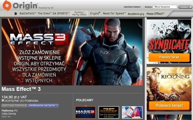 Origin - fragment sklepu EA /Informacja prasowa
