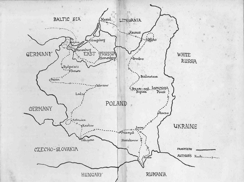 Oryginalna autorska wersja mapy z podróży Bernarda Newmana po Polsce /materiały prasowe